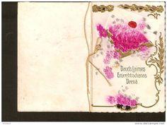 Dauds laimes eeswehtischanas deena - embossed divided vintage card - flowers roses - till 1910