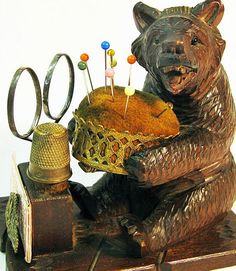 Black Forest hand carved bear pin cushion / sewing caddy, c. 1880