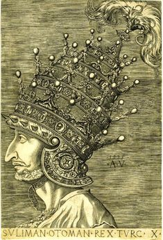 Agostino Veneziano's depiction of Sultan Suleyman the Magnificent Wearing the Jewel-Studded Helmet a. Fine Art Prints, Framed Prints, Canvas Prints, Costa Teguise, Empire Ottoman, Grand Palais, Illustrations, British Museum, Venice