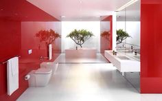 red Bathroom Decor Dont be afraid to get bold with your bathroom design. These red bathrooms will give you ideas on how to infuse your space with color if youre getting tired of neutrals. Bobby Streett, Your Coastal Carolina Connection Garden City Realty White Bathroom Interior, Red Bathroom Decor, Modern Bathrooms Interior, Contemporary Bathroom Designs, Bathroom Colors, Red Bathrooms, Bathroom Ideas, Modern Interior, Bathroom Remodeling
