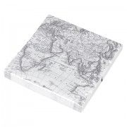 OLD WORLD MAP Grey Map Paper Napkins (pack of 12)