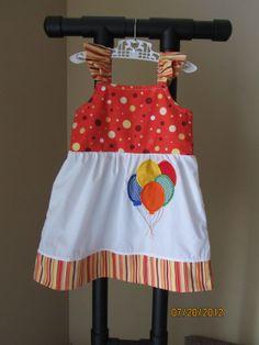 Custom Boutique Toddler Girls Clothing Jumper Dress Orange Yellow Dots Balloons Circus via Etsy