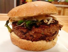 <p>Chinese food is delicious. BBQ food is delicious. Here, you get double the deliciousness because this is a Chinese BBQ burger. The burger is protein packed, nutty, and flavorful. It's topped with grilled veggies and a spicy sesame sauce. Just don't try to eat it with chopsticks.</p>