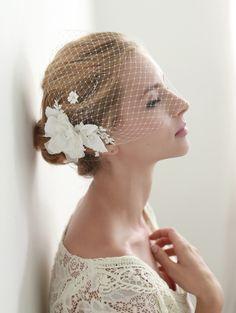 Flower face veil, bandeau birdcage Veil. french veil, russian veil, wedding veil, bridal veil http://www.allysonjames.net/item_7796/Flower-face-veil-bandeau-birdcage-Veil.-french-veil-russian-veil-wedding-veil-bridal-veil.htm
