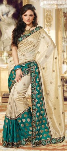 Beige and Brown  color family Party Wear Sarees,Silk Sarees in Tussar Silk fabric with Machine Embroidery,Resham,Thread,Zari work   with matching unstitched blouse.