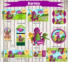 This listing is for the entire BARNEY party package!    Easy to download, print as many as you need!      This PDF pack includes:  - Invitation