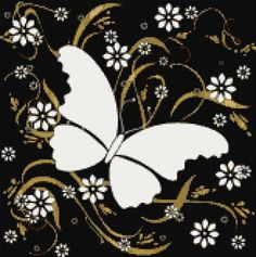 White butterfly cross stitch kit or pattern | Yiotas XStitch