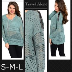 High low sweater with leather detailing Teal color high low knitted sweater with long dropped sleeves with faux leather grayling with star shape studs .  Also available in other color and sizes . Sweaters Crew & Scoop Necks