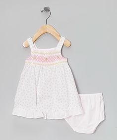 Loving this Light Pink Floral Smocked Dress & Diaper Cover - Infant on #zulily! #zulilyfinds