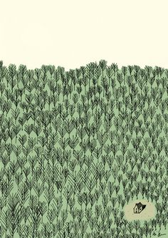 http://designclever.tumblr.com/post/110442981020 trees forest cabin illustration