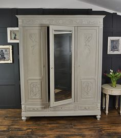 We adore this French triple wardrobe with it's gorgeous flower detail. We've painted in a lightened version of Annie Sloan Paris Grey over it's original darker grey and picked out the detail in Old White. http://www.thetreasuretrove.co.uk/bedroom-storage/grey-shabby-chic-triple-knock-down-wardrobe