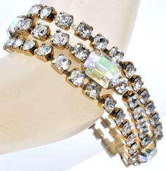 Aurora Borealis & Clear Rhinestone Bracelet Triple Row Prong Set Vintage Jewelry   Jewelry & Watches, Vintage & Antique Jewelry, Costume   eBay!