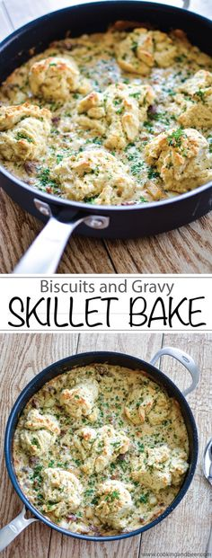 Biscuits and Gravy Skillet Bake: You need this recipe for your next breakfast or brunch party! | www.cookingandbeer.com