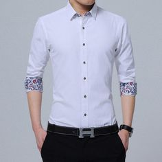 2da3bdf698f8a Buy Large Men Shirt Regular Square Collar Long Sleeve Solid Twill Formal  Dress at Narvay.