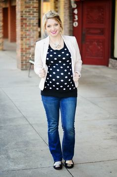 The Creative Closet || Polka Dots and blush for a casual look