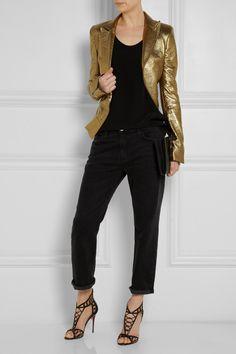 Haider Ackermann Metallic Leather Blazer in Gold (Metallic) | Lyst