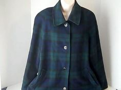 PENDLETON Vintage Womens 12  Green Black Checked Plaid Coat Wool Acetate USA #PENDLETON #BasicCoat