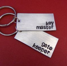 Ghostbusters Inspired - Key Master and Gate Keeper -  A Pair of Hand Stamped Aluminum Keychains. $19.95, via Etsy.