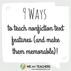 9 Ways to Teach Nonfiction Text Features - This article gives a lot of helpful tips for teaching nonfiction in creative, engaging ways Reading Strategies, Reading Skills, Teaching Reading, Reading Comprehension, Study Skills, Learning, Nonfiction Text Features, 6th Grade Reading, We Are Teachers