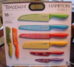Tomodachi 16 Piece Knife Set Gingham Fruit Printed Cutlery Hampton Forge China  #HamptonForge