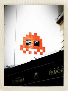 Space Invader - giggle - apound the art studio windows - I wonder if I could get permission to do it :)