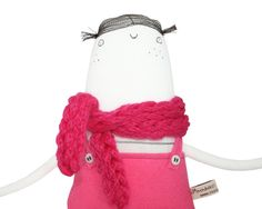 SALE 50% Off - OOAK Art Doll, Hand-Embroidered Plush White Minimalist Doll with Pink Dungarees and Knitted Scarf, Soft Sculpture, Poosac
