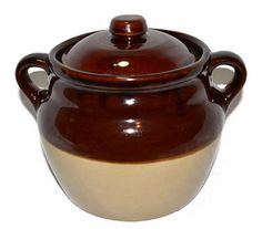 Bean Pot Monmouth Pottery Stoneware Brown 2 by ChicMouseVintage