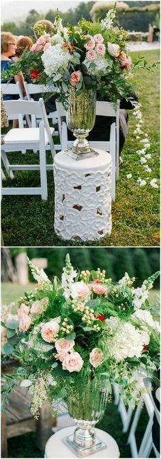 Romantic floral arrangements, outdoor wedding ceremony, pink roses, white ceramic stand, luscious greenery, white florals, chic silver vases // Lauren Rosenau Photography