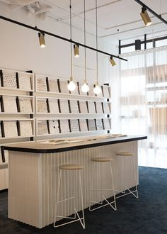 Customer experience is pivotal to the design of this flagship tile showroom in Waterloo for leading tile supplier, Di Lorenzo. Showroom Interior Design, Tile Showroom, Design Studio Office, Workspace Design, Fireplace Showroom, Kitchen And Bath Showroom, Warehouse Design, Tile Stores, Office Wall Decor