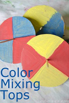 Can you combine colors using motion? Science + Art: Color Mixing Tops ~ Creative Family Fun