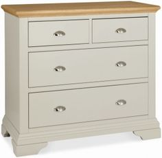 Bentley Designs Hampstead Soft Grey and Oak Chest of Drawer - 2+2 Drawer