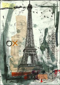 Items similar to ART PRINT canvas gift poster illustration Painting Collage Eiffel Paris Mixed Media drawing Hand Signed autographed Emanunel Ologeanu on Etsy Collage Kunst, Collage Book, Collage Drawing, Painting Collage, Mixed Media Collage, Heart Collage, Drawing Hand, Tree Collage, Collage Ideas