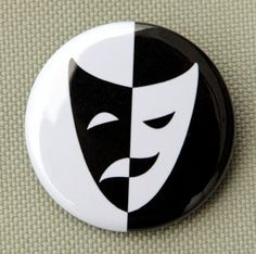 Comedy Tragedy Mask - Button Pinback Badge 1 1/2 inch
