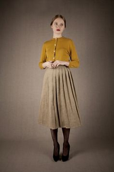 Tan with brown tights; Mes Dames AW12