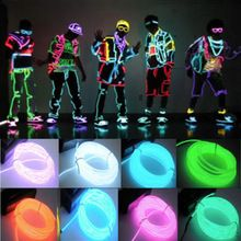 1pc 3M Flexible EL Wire Tube Rope Battery Powered Flexible Neon Light Car Party Wedding Decoration With Controller(China)