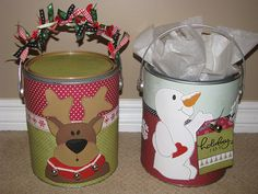 Templates to decorate paint cans for unique storage (cookies, presents, utensils)...neat idea