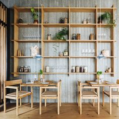 Substans restaurant in Aarhus designed by Krøyer & Gatten Brown Kitchen Tiles, Brown Kitchens, Oak Wall Shelves, Shelving, Shelf, Solid Oak Furniture, Wooden Table And Chairs, Space Copenhagen, Lounge