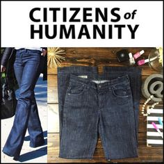 """Citizens of Humanity Trouser Jean Wide leg Hutton Amazing condition dark wash trouser jeans. Citizens of Humanity is focused on creativity and inspired premium denim products of unparalleled craftsmanship and quality. With a high-rise and wider leg, this chic pair is instantly elongating.  Five-pocket styling Cotton, polyamide, elastane  MEASUREMENTS Waist: 14.5"""" Hips: 18.5"""" Rise: 9"""" Leg Opening: 10"""" Inseam: 33""""   •• C2 As always I follow all Postmark rules & No trades. Please make all…"""