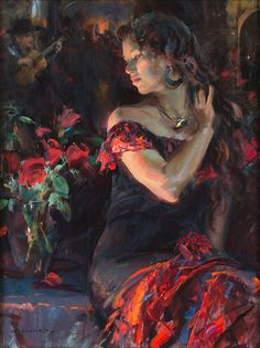 Dan Gerhartz is known for his romantic, touching oil paintings of people. art for the home, romantic paintings, original art, original oil paintings, art by Dan Gerhartz, home decor, paintings of people, flamenco, Spanish dancers