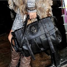 Palin Yee Women Motorcycle Hobo Handbag Punk Style Pu Leather Skull Shoulder Bag Tote Bags Satchel Purse ** Be sure to check out this awesome product.