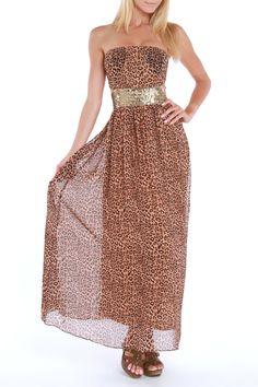 Black Animal Print Maxi Dress In Brown & Multicolor - Beyond the Rack