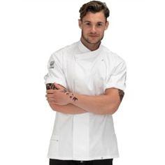 Moderní, unisexový kuchařský rondon s krátkým rukávem se zapínáním na cvočky. Velkou výhodou je speciální prodyšný materiál na zádech rondonu zabraňující přehřívání. Le Chef, Chef Jackets, Unisex, Fashion, Moda, Fashion Styles, Fashion Illustrations