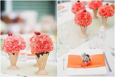 Ice Cream Social baby shower, ice cream cone flower arrangements, orange florals, Disney baby shower