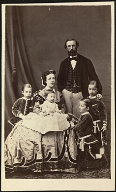 Oscar II, king of Sweden, and until1905, king of Norway. (His great nephew became king of Norway, and Harald V is his gt grandson.) W/him, his queen, Sofia of Nassau and their 4 children. He was the son of Oscar I and Josephine of Leuchtenberg.  A very interesting man.
