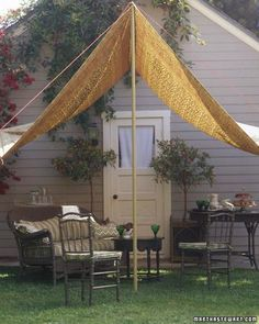 DIY Tutorial ~ A Slice of Shade: Creating Canopies- A great idea for a party in the backyard, a day at the park, the lake or the beach!