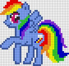 Rainbow Dash Prance Perler Bead Pattern / Bead Sprite