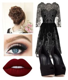 """""""Black Date"""" by lola-111-love ❤ liked on Polyvore featuring Chi Chi, Giuseppe Zanotti and Lime Crime"""