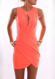 Orange Plain Pleated Cut Out Irregular Round Neck Sleeveless Sexy Mini Dress