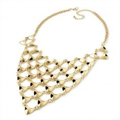Ladies Triangle Shape Mesh Design Chain Necklace Shiny Gold Colour