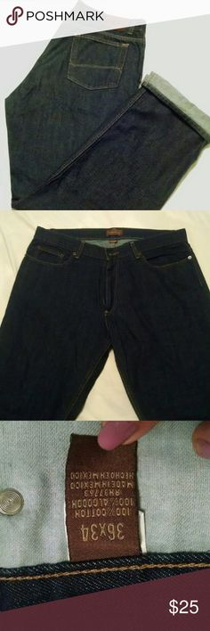 Perry Ellis jeans Jeans are a dark denim.  Size 36/34. They are new without tags. Perry Ellis Jeans Straight